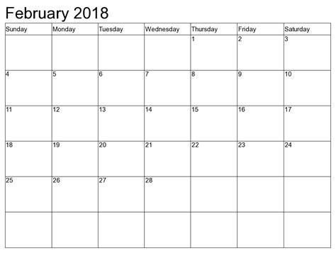 Calendar 2018 February And March February 2018 Calendar