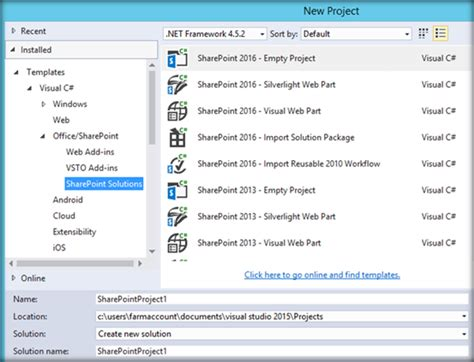 Set Up Sharepoint Server 2016 Project Templates For Visual Sharepoint 2016 Templates