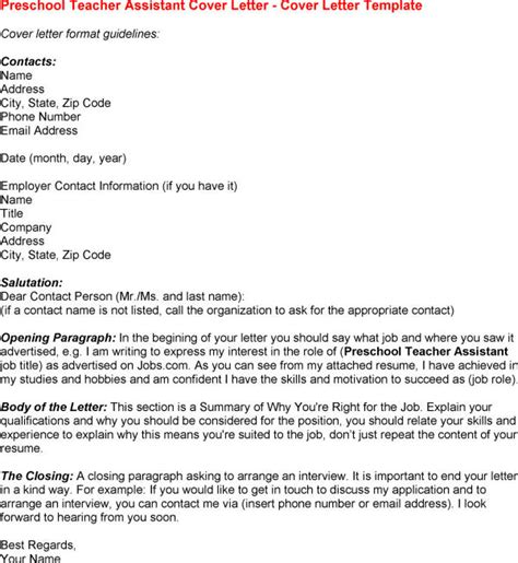 cover letter template for teaching assistant cover letter