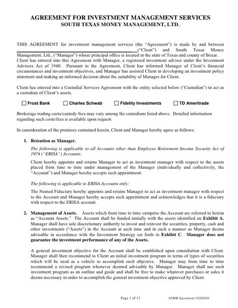 management services agreement template agreement for investment management services