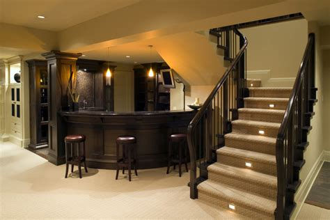 basement area bar area in home traditional basement by
