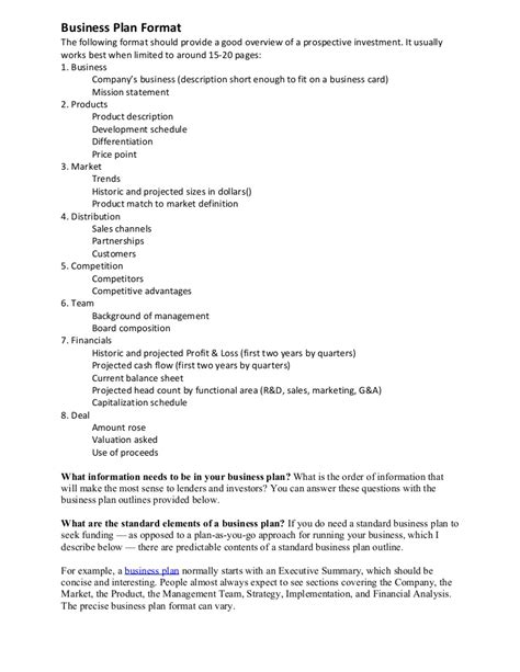 format of business plan business plan format