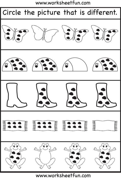 Free Preschool Worksheets For 3 Year Olds by Circle The Picture That Is Different 3 Worksheets