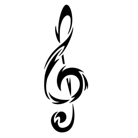 tribal tattoo music 6022 tribal treble clef note clipart best