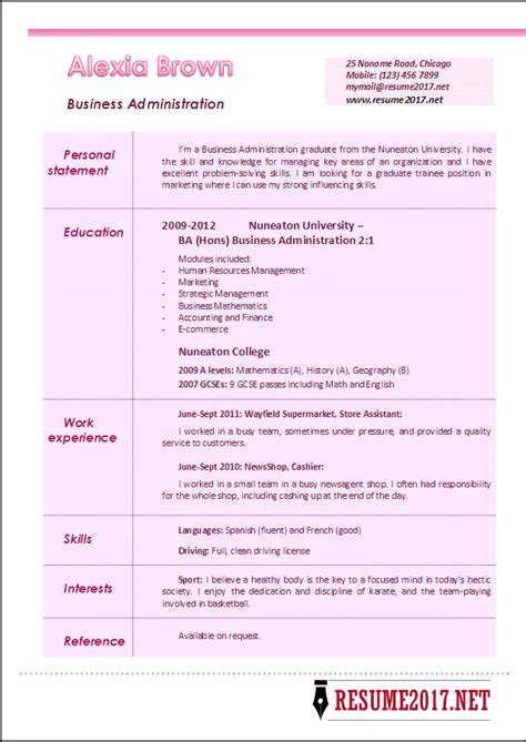 Resume Templates Business Administration business administration resume exles 2017