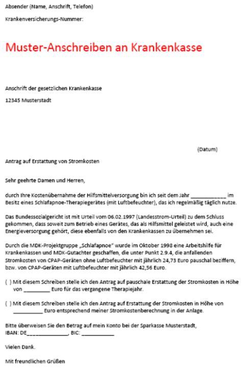 Brief An Krankenkasse Wegen Kosten Bernahme anschreiben kostenerstattung krankenkasse