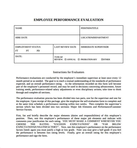 8 Employee Self Evaluation Forms Sle Templates Employee Self Evaluation Template Free