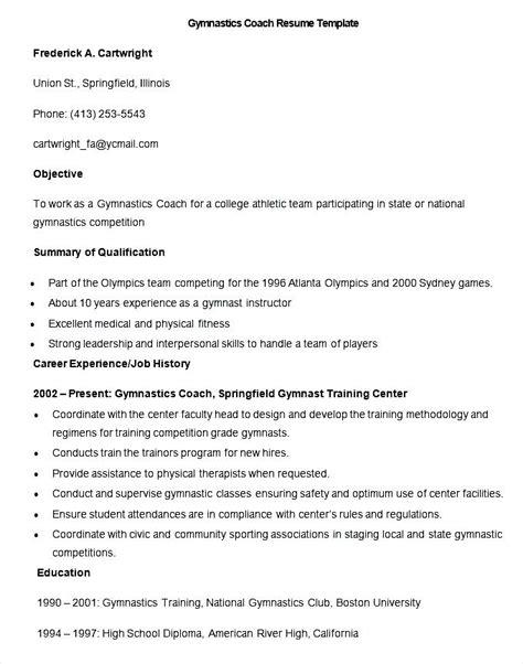 gymnastics coach resume sle gymnastics coach resume template free sles