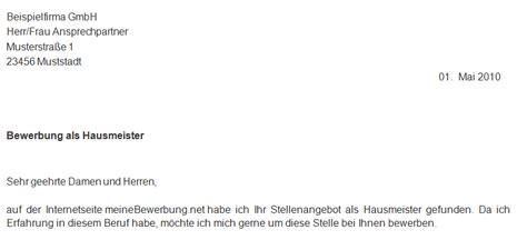 Bewerbung Anschreiben Muster Hausmeister Hausmeister Mw In Dietmannsried Kostenloses Deckblatt