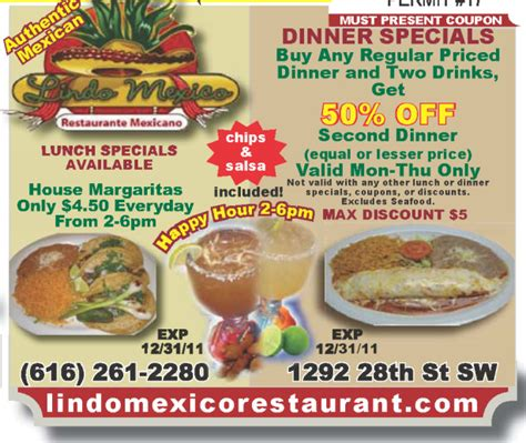 printable restaurant coupons grand rapids mi lindo mexico authentic mexican dinner lunch coupon