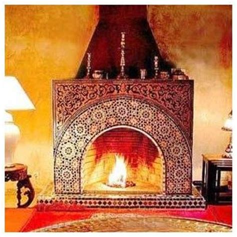 moroccan tiled fireplace moroccan room