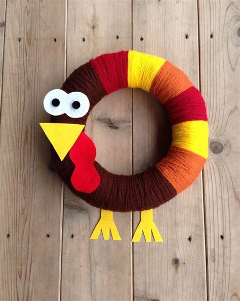 Handmade Turkey Crafts - thanksgiving wreath crafts to decor your house in 2015