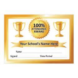 gold 100 attendance certificate school stickers