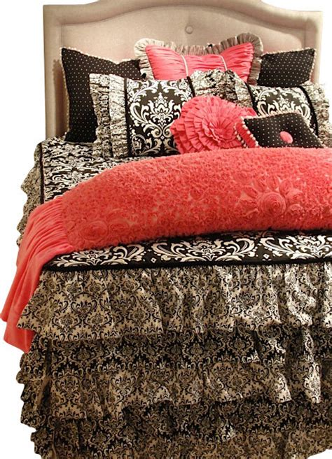 eclectic bedding queen size pink black and white damask and toile bedding