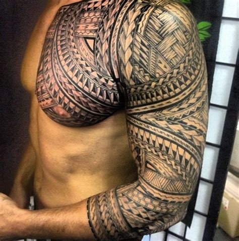 tattoo chest and arm sleeve tribal chest n sleeve tattoo tattoos pinterest