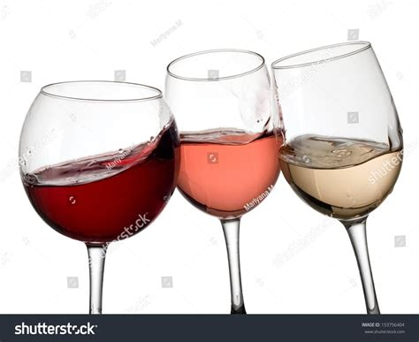 white and red rose wine glass three glasses red white rose wine stock photo 153756404