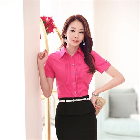 Celanasweaterkorea Wanita Fashion Color Pink S13086 formal blouses shirts sleeve fashion summer blouses work wear office
