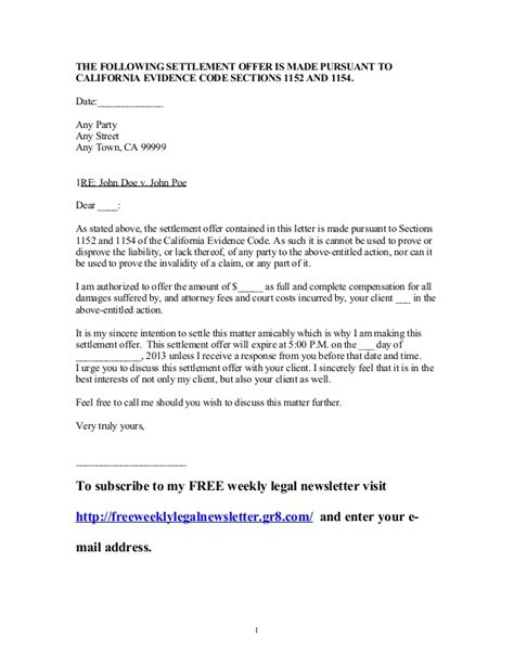 debt settlement offer letter template settlement letter sle free printable documents