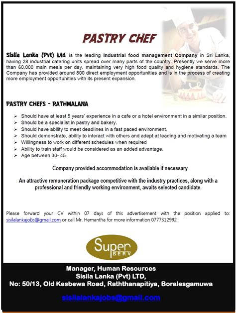 Pastry Chef Responsibilities by Pastry Chef Vacancy In Sri Lanka