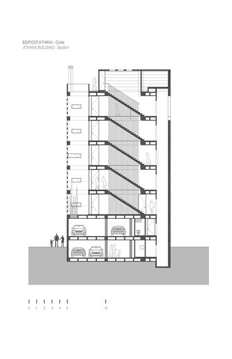 escaleras en corte frontal edificio athikia daniel bonilla arquitectos archdaily