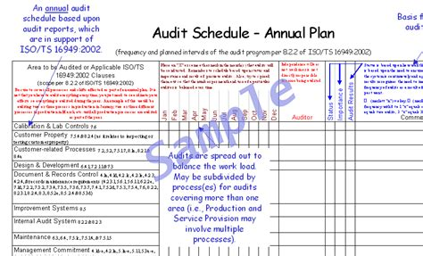 internal audit schedule template iso 9001 choice image