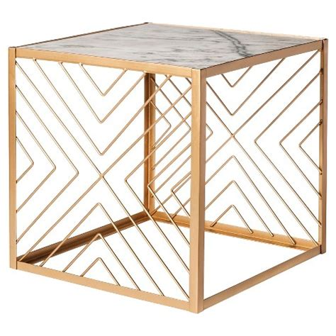 Nate Berkus Square Gold Accent Table With Marble Target Nate Berkus Coffee Table