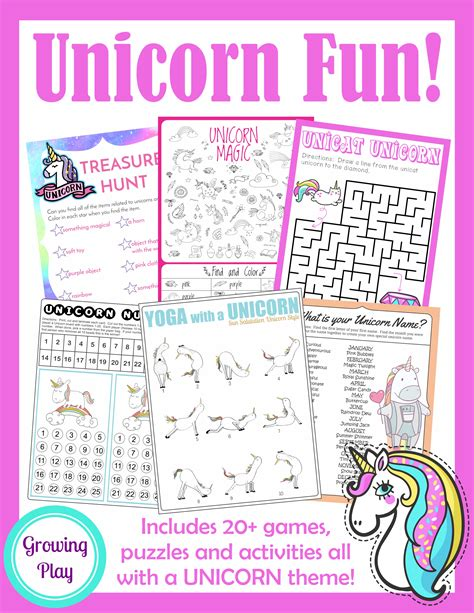 printable unicorn party games unicorn birthday games activities puzzles growing play