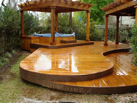 backyard wood patio most seen images in the the best image of outdoor hot tub
