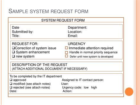 system request form template cs 414 it project management
