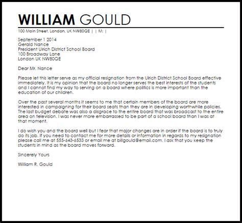 school board resignation letter letter samples