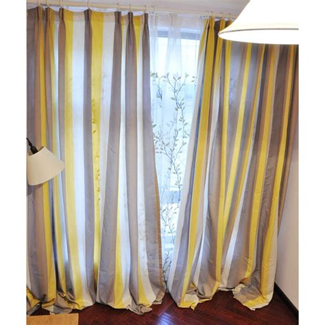 Yellow Brown Curtains Affordable Linen Yellow Brown White Study Striped Curtains
