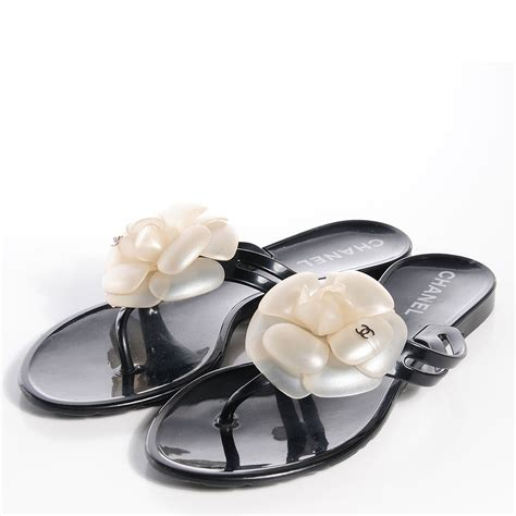 chanel jelly sandals chanel jelly camellia sandals 35 black