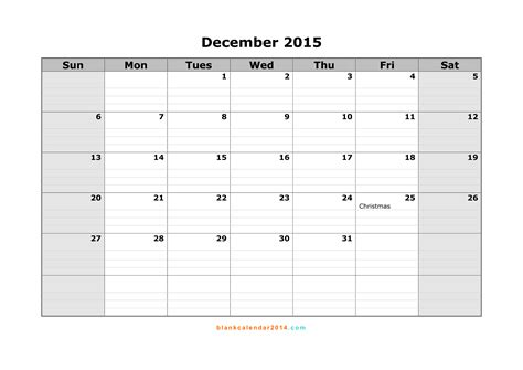 printable monthly calendar for december 2015 8 best images of december 2015 calendar printable template