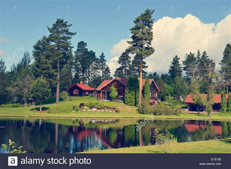 Swedish Lakeside Cabins by Sweden Mora Log Cabin By The Lakeside Stock Photo