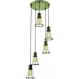 pendant cluster ceiling light with 5 industrial style cage lights characterful industrial style lighting with an urban chic