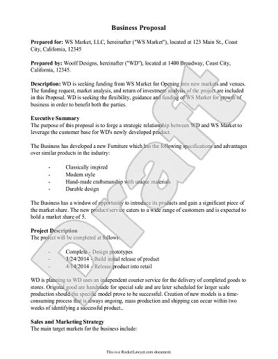 business proposal template exle business proposal
