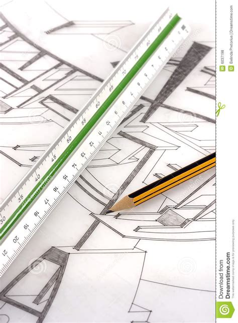 scale drawing tool a scale ruler and pencil on a technical drawing royalty free stock photos image 6037198