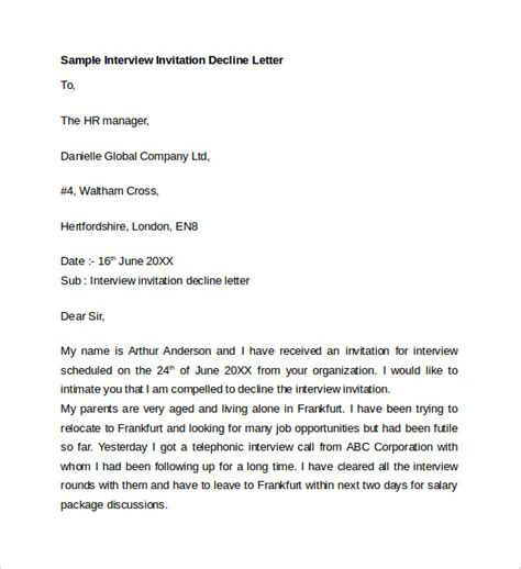 Decline Invitation Letter Business sle letter of explanation 7 documents in word