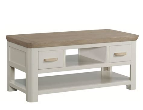 angelo painted and oak small storage coffee table