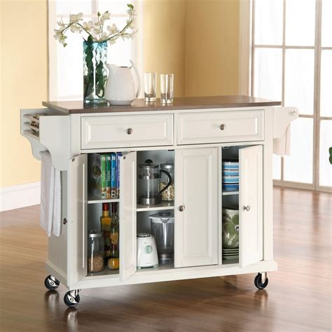 kitchen island cart stainless steel top kitchen cart with stainless steel top