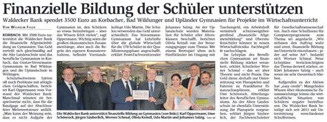 waldecker bank banking berufliche schulen korbach waldecker bank spendet 3500