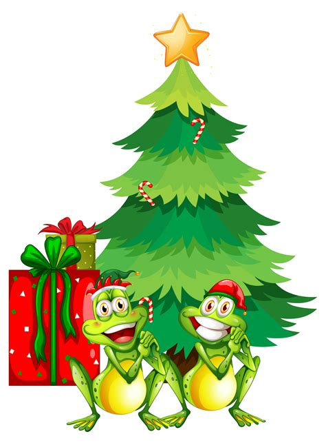 christmas theme   frogs  christmas tree   vectors clipart graphics
