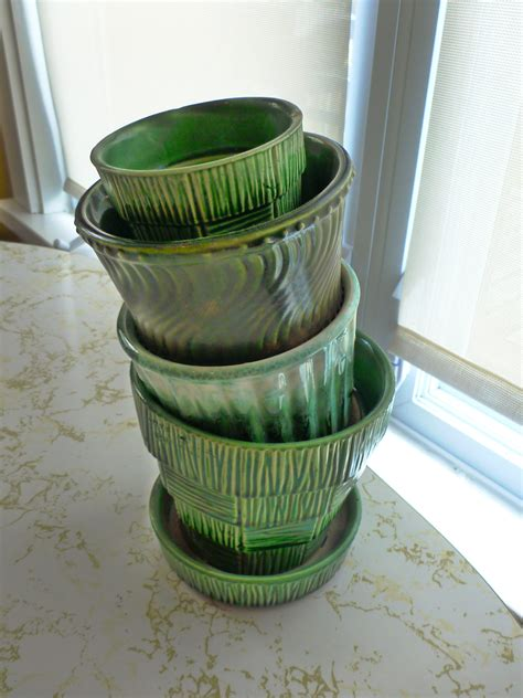 vintage mccoy pottery green planters the new collector