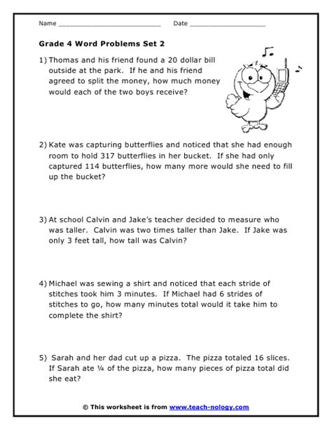 Grade 4 Math Problem Solving Worksheets by Grade 4 Word Problems Set 2
