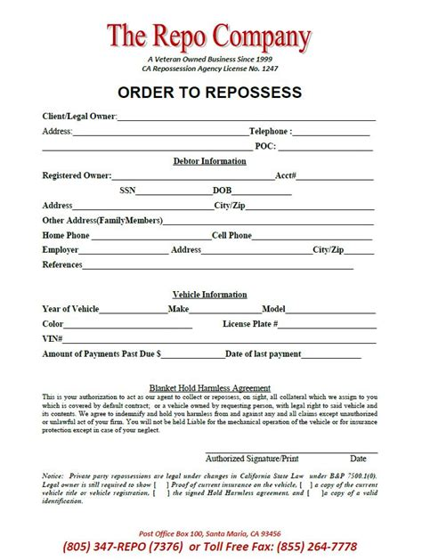 Hold Harmless Agreement The Repo Company Order To Repossess Free Repossession Order Form Template