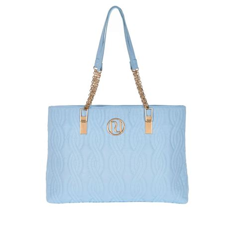 River Island Quilted Tote Bag by River Island Light Blue Quilted Chain Tote Bag In