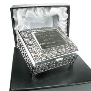 personalized silver gifts christening gift personalised engraved silver plated christening trinket box ebay