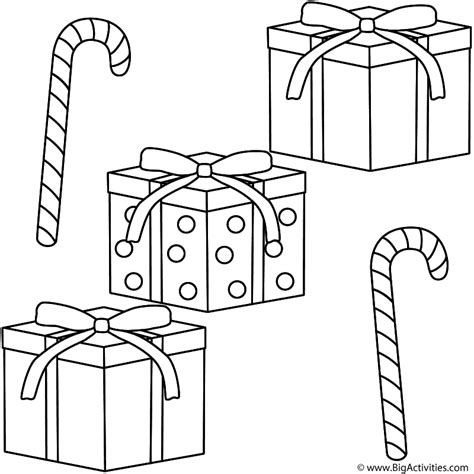 Christmas Gifts With Candy Canes Coloring Page Christmas Printable Gifts Coloring Pages