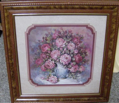 Retired Home Interior Pictures Homco Home Interiors Retired 18 5 Quot Picture Roses Blue Vase Crainer Frame Ebay