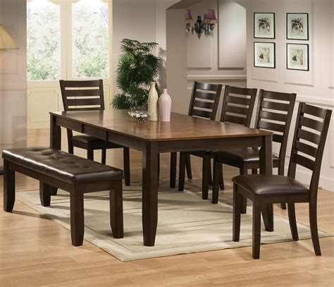 crown mark elliott  piece dining table  chairs set  bench dunk bright furniture